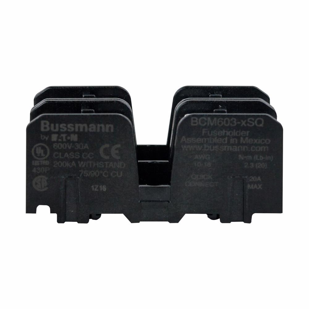 BCM603-2SQ BUS CC FUSE BLOCK W/SCREW & QC 2-POLE REPLACES BC6032S