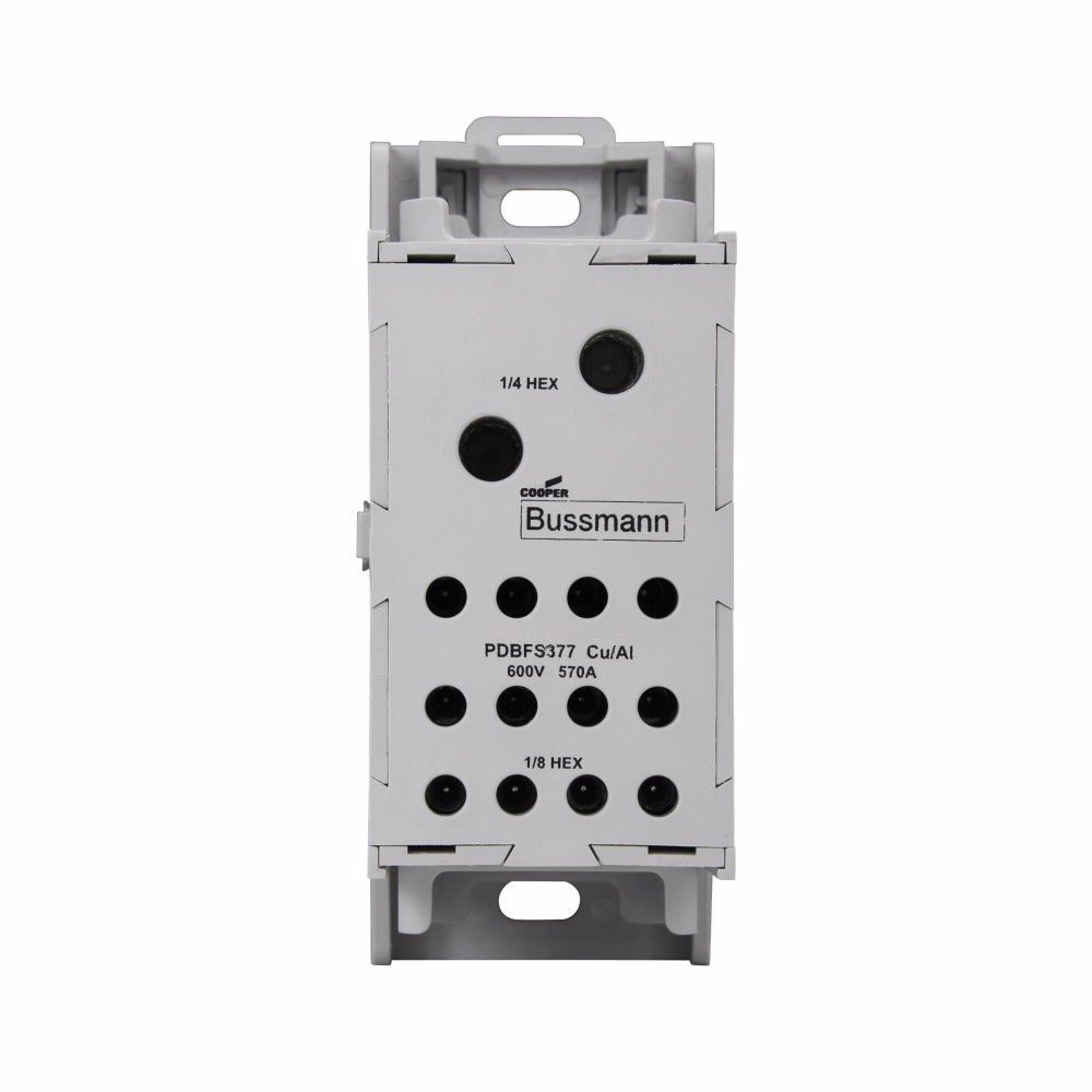 Cooper Bussmann North America Elect,PDBFS377,Bussmann PDBFS Finger Safe Power Distribution Block, 480 VAC, 175 to 760 A, 1 Poles, Copper/Aluminum