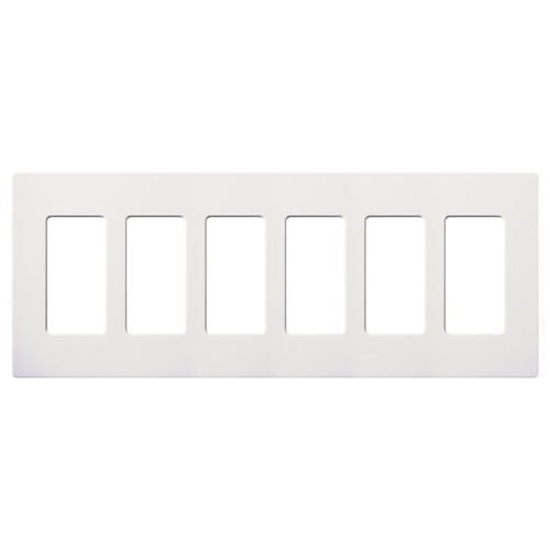 Lutron,CW-6-WH,Claro® Diva® CW-6-WH Designer Screwless Decorator Wallplate, 6 Gangs, 4.69 in H x 12 in W, Polycarbonate, White