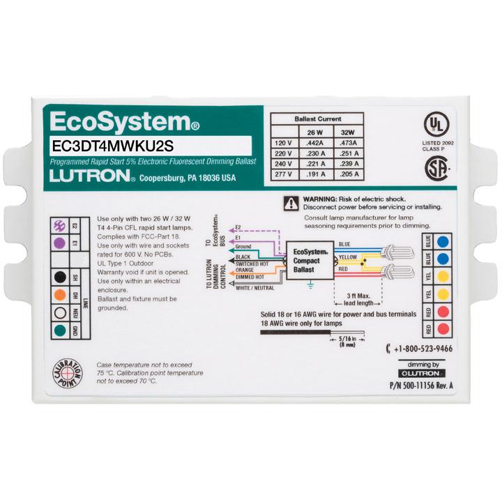 Lutron,EC3DT4MWKU1S,EcoSystem® EC3DT4MWKU1S Dimming Studded Digital Ballasts, T4 Compact Fluorescent Lamp, 26 W, 120 VAC, Programmed Rapid