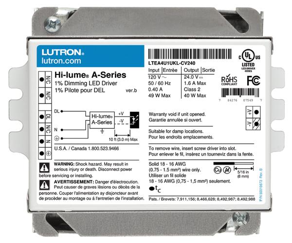 Lutron,LTEA4U1UKL-CV240,Hi-Lume® LTEA4U1UKL-CV240 Architectural Style Dimming LED Driver, 120/277 VAC Input, 24 VAC Output, 40 W, 4.9 in L