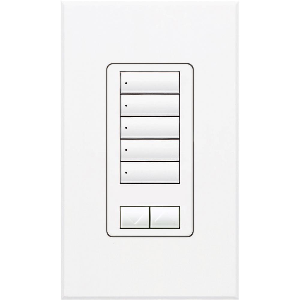Lutron,QSWS2-5BRLI-WH,Lutron® SeeTouch™ QS Quantum® GRAFIK Eye® QS QSWS2 5-Button Raise/Lower Insert Wall Switch Station, 24 to 36 VDC, 30 mA