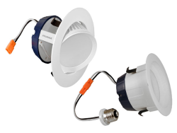 Sylvania,LED/RT4/G/600/830/70395,600lm 3000K 4in LED recessed downlight kit replacing up to 50W halogen. Medium base socket adaptor included. Integrated white trim and white reflector. Up to 30 deg tilt Gimbal feature.