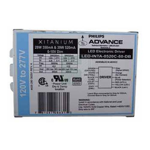 Philips Advance,LEDINTA0520C80DBM,Xitanium LEDINTA0520C80DBM 17-Wire Dimmable Downlight LED Driver, 120 to 277 VAC Input, 40 to 77 VDC Output, 40 W