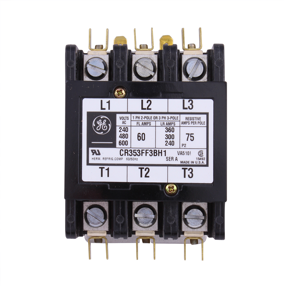 GE Industrial Solutions CR353FF3BH1 3-Pole 24 Volt 60 Amp Standard Full Voltage Definite Purpose Contactor