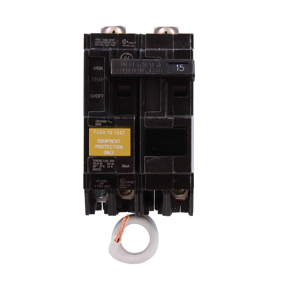 GE Industrial Solutions THQB2120GFEP 2-Pole 20 Amp 120/240 Volt 10 Kaic 1 Inch Bolt-On Molded Case Circuit Breaker
