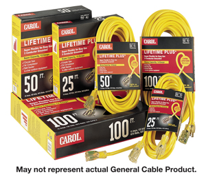 Carol 03390.63.05 Lighted Extension Cord; 25 Feet, 3 Conductor Grounded, Yellow