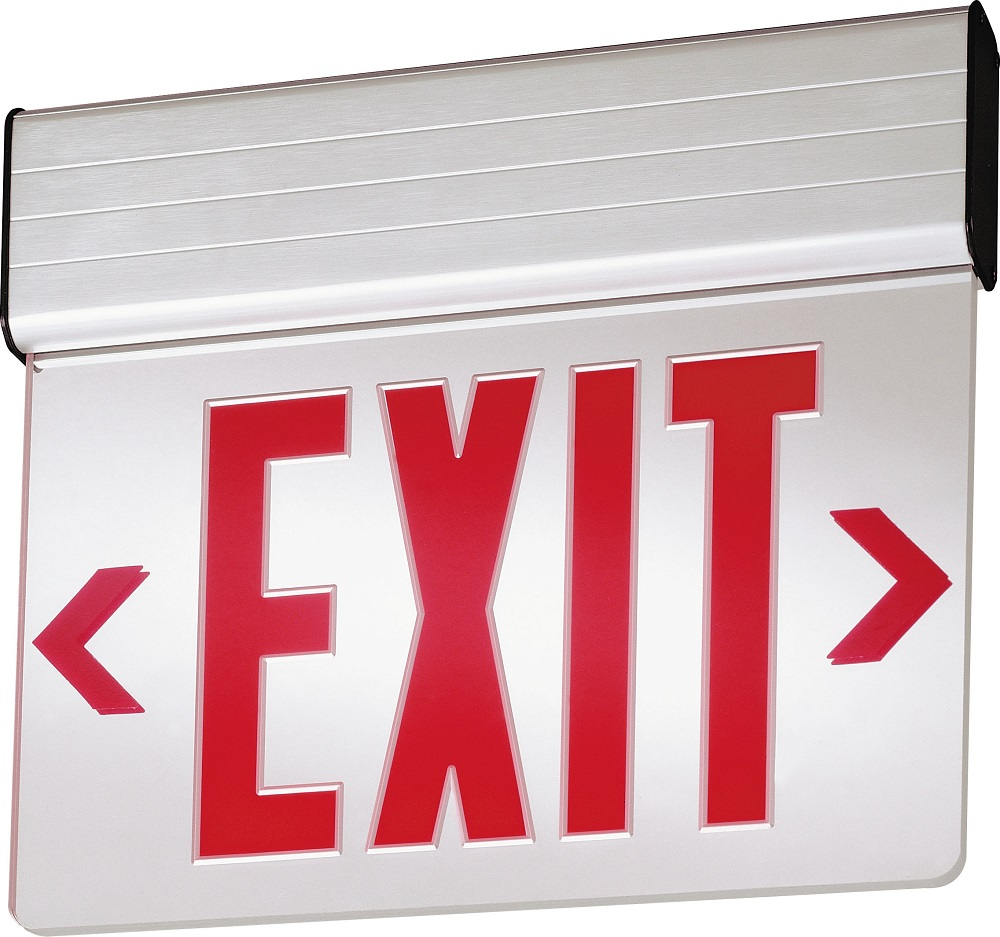Lithonia Lighting® EDG 1 R EL M6 Single Face Emergency Exit Sign, LED Static Lamp, 120/277 VAC, EXIT Legend