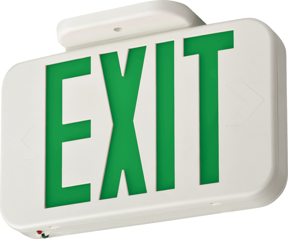 LITEXGLEDELM6 WHITE THERMOPLASTIC LED EMERGENCY EXIT, GREEN SINGLE FACE WITH EXTRA FACE PLATE AND COLOR PANEL, NI-CAD BATTERY BACK-UP EXGLEDELM6, LITHONIA