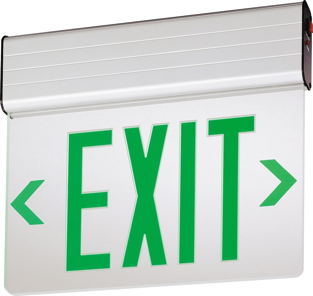 Lithonia Lighting,EDG-2-G-EL-M6,Lithonia Lighting® EDG 2 G EL M6 Double Face Emergency Exit Sign, LED Static Lamp, 120/277 VAC, EXIT Legend