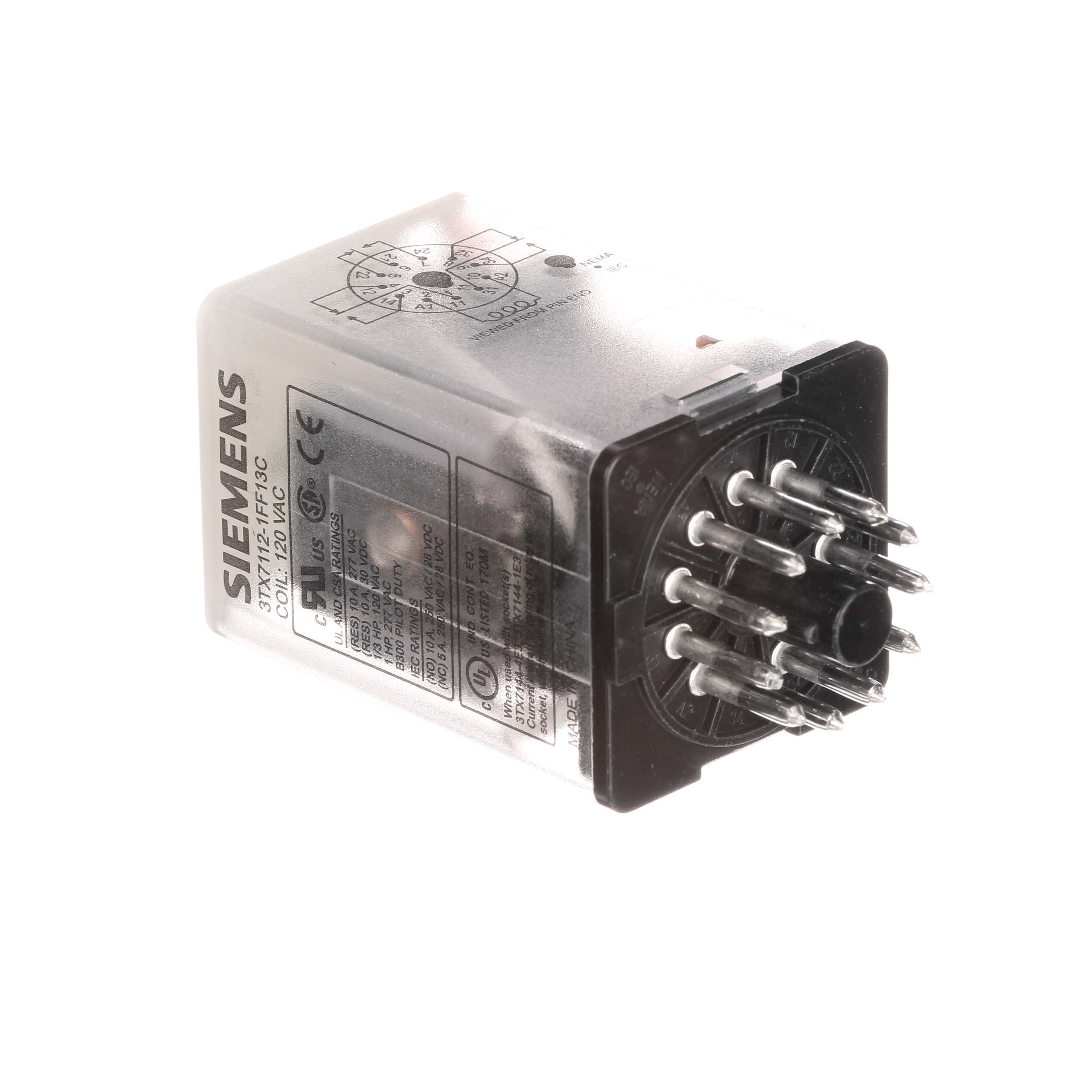 Plug-in Relay, Basic 8-pin Octal Base DPDT, 10A, 120VAC Uses Socket 3TX7144-1E2or 3TX7144-4E2