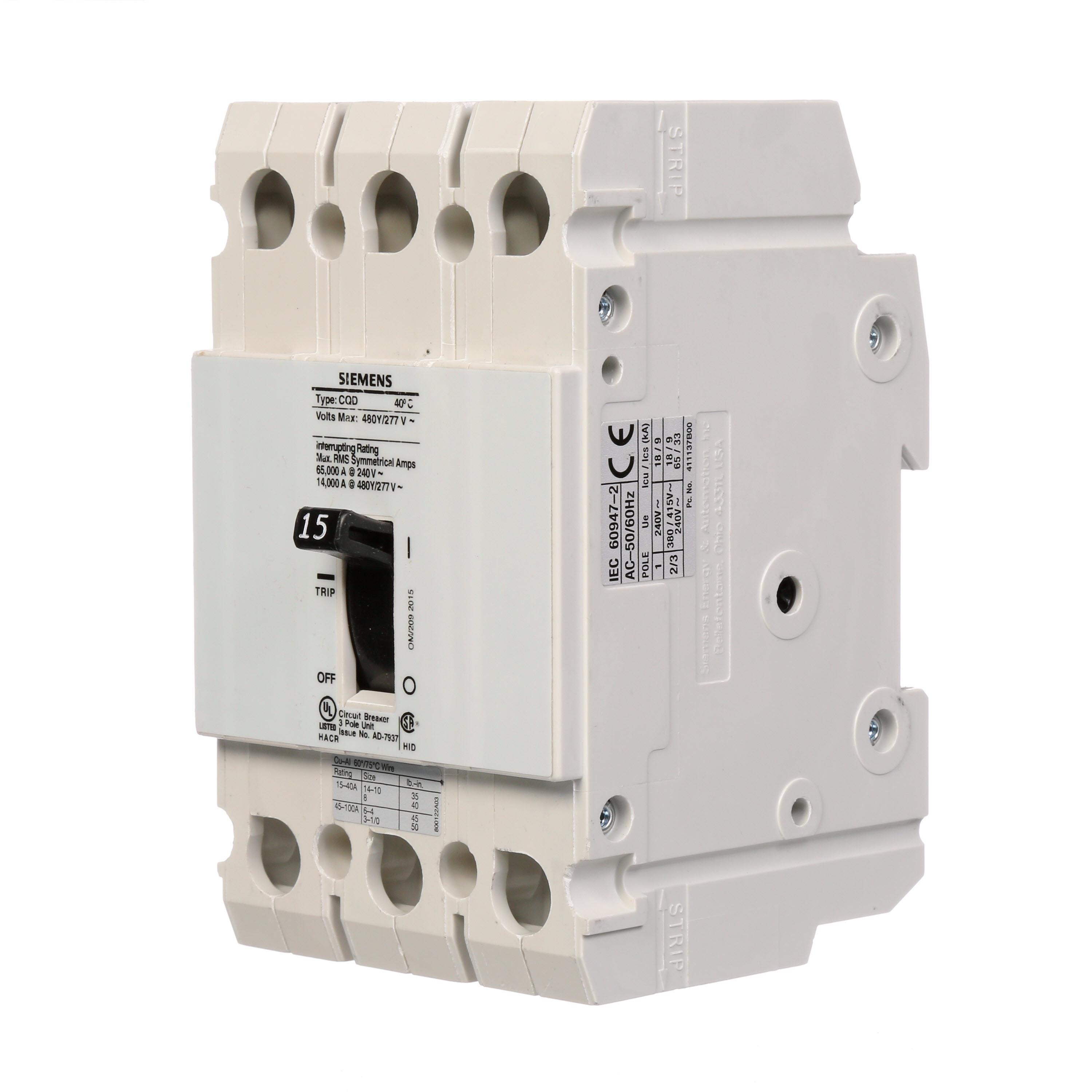 Siemens CQD315 Molded Case Breakers - Crescent Electric Supply Company