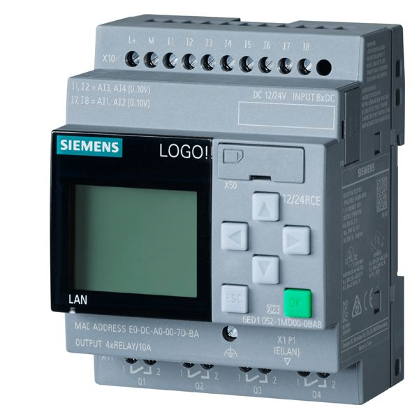 Siemens 6ED1052-1MD00-0BA8 Programmable Relay Display Module, 12/24 VDC, 3 A Inductive Load/10 A Resistive Load
