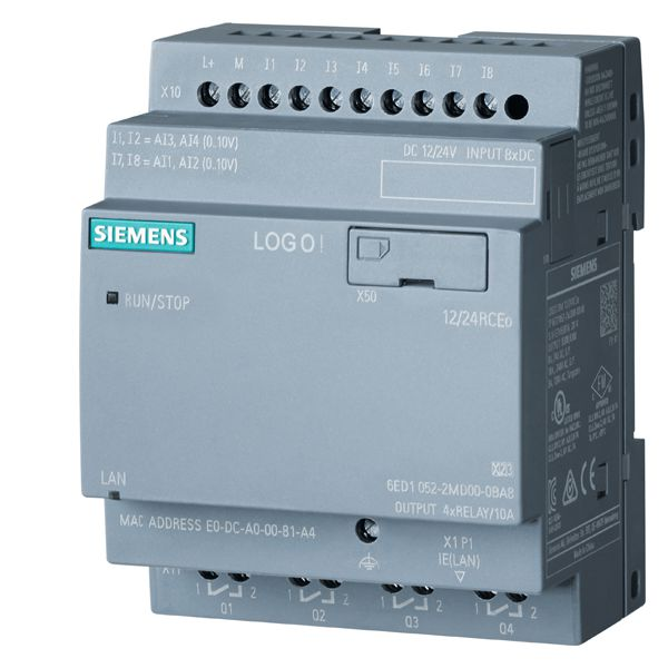 Siemens 6ED1052-2MD00-0BA8 Programmable Relay Display Module, 12/24 VDC, 3 A Inductive Load/10 A Resistive Load