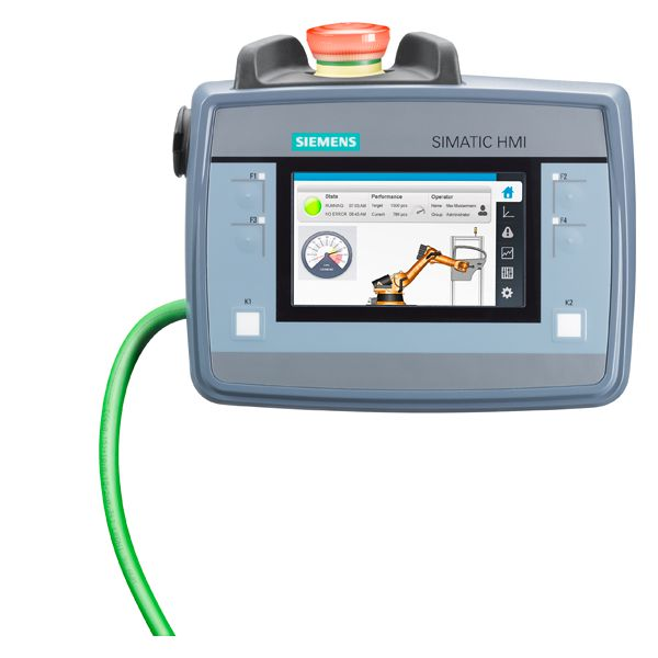 SIMATIC HMI KTP400F MOBILE WITH INTEG. ENABLING BUTTON. EMERGENCY STOP. TOUCH AND KEY OPERATION. 4 WIDESCREEN-TFT-DISPLAY. PROFINET INTERFACE. CONFIGURABLE FROM WINCC COMFORT V13 SP1 WITH HSP