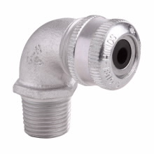 Crouse-Hinds Series CGE196 1/2 Inch Male Threaded Iron Alloy 90 Degrees Non-Armored Cable Gland