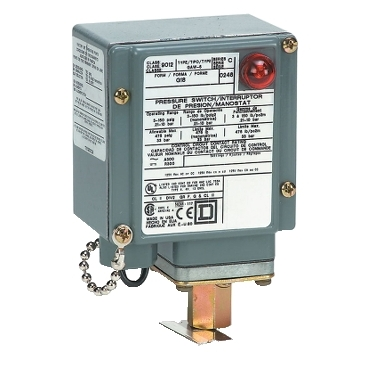 SQD9012GDW25G18 PRESSURE SWITCH 480VAC 10AMP G OPTIONS;Square D™ 9012GDW25G18 Single Stage Low Pressure Electromechanical Pressure Switch, 3 to 150 psi Pressure, 6 psi Differential, 2(NC-NO), DPDT-DB (Isolated) Contact, Screw Clamp Connection