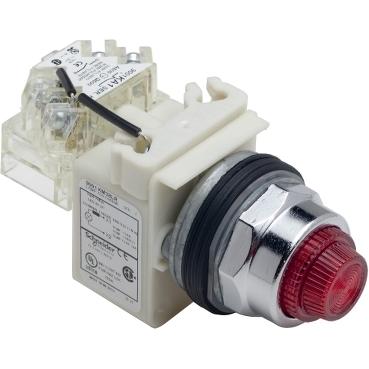 Schneider Electric Harmony™ Square D™ 9001KT38LRR31 Type K Pilot Light, 120 VAC/VDC, 1.4 VA, Fresnel Lens, Panel Mount