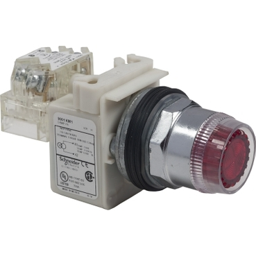 Schneider Electric Harmony™ Square D™ 9001K1L38G Type K Dusttight/Oiltight/Watertight Heavy Duty Round Illuminated Pushbutton Operator With Metal Full Guard, 30 mm, SPDT Contact, Full Guard Button/Spring Return Operator, Momentary Contact, Green