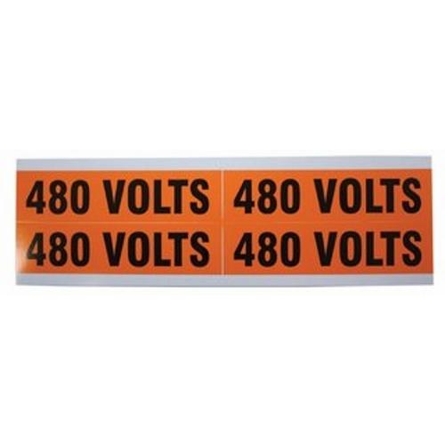 IDEAL,44-364,IDEAL® 44-364 Medium Conduit and Voltage Marker, 4-1/2 in L Label, 1-1/8 in W Label, Black Legend, Vinyl Cloth