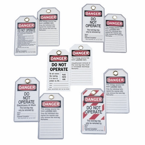 IDE 44-833 HEAVY DUTY LOCKOUT TAG (STRIPED) QTY 1 PK=(A CARD OF 5)