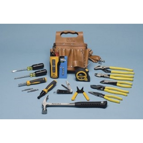 IDEAL 35-800 16Pc Electrician's Tool Kit (Pouch,Pliers,Screwdrivers, Hammer,Tape Measure,Tester, Etc)