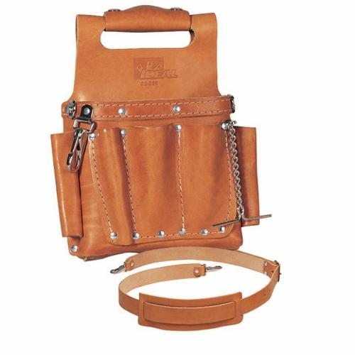 IDEAL 35-950 Leather Belt-Mount Tool Pouch, 8 Pocket w/Shou;der Strap
