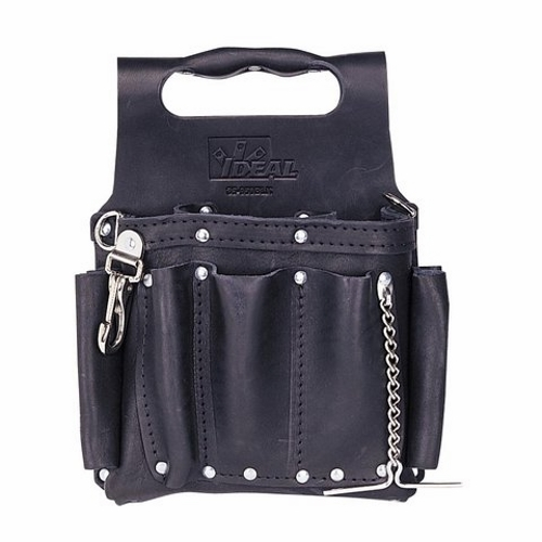 Tool Pouch,Ideal,Tuff-Tote,8 Pockets,BLK,Premium Leather,SZ: 6.000 X 8.000 IN