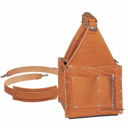 "IDEAL 35-975 Leather Ultimate Tool Carrier 8"" x 8"", 21 Pockets & Shoulder Strap"