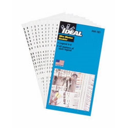 IDEAL® 44-102 Pre-Printed Wire Marker Booklet, 1-1/2 in L x 1/4 in W, Black/White, Plastic Impregnated Cloth