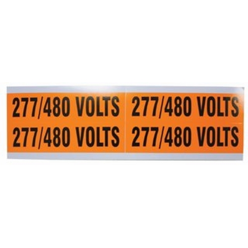 "IDEAL 44-299 Voltage & Conduit Marker Card ""277/480V"" 1-1/8"" x 4-1/2"" Vinyl-Impregnated Cloth"
