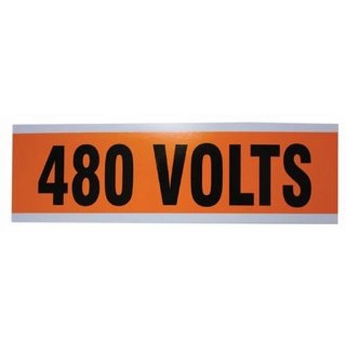 "IDEAL 44-314 Voltage & Conduit Marker Card ""480V"" 2-1/4"" x 9"" Vinyl-Impregnated Cloth"