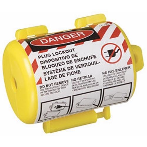 Labeled Safety/Plug Lockout,Ideal,1/2 IN CRD Diameter,SLR,110/220 V,PKG: 1/Card