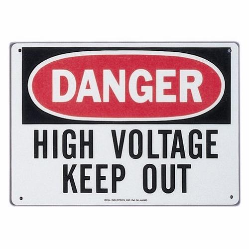 "IDEAL 44-880 Safety Sign ""Danger - High Voltage - Keep Out"" 14"" x 10"" Fiberglass"