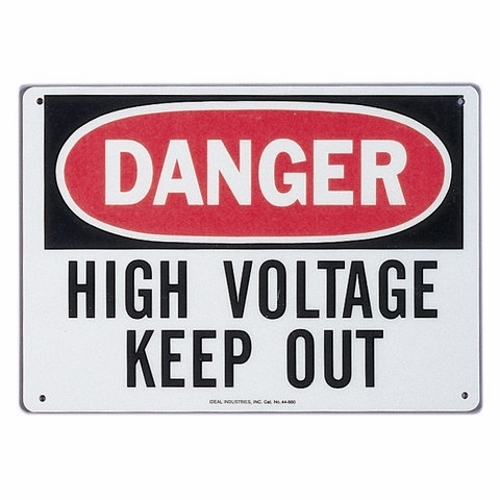 Safety Sign,Ideal,Self-Sticking,LGND: Danger - High Voltage - Keep Out,Polyester