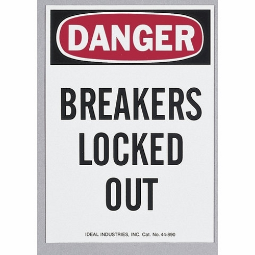 Safety Sign,Ideal,Lockout,MAG,LGND: DANGER BREAKERS LOCKED OUT