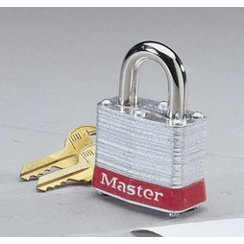 """IDEAL 44-906 Padlock 3/4"""" Hasp Clearance, 9/32"""" Hasp Dia. w/Red Bumper"""