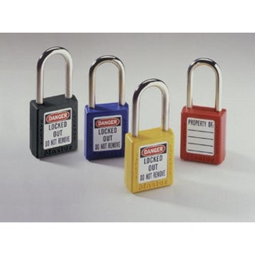 Padlock,Ideal,Lockout,Xenoy BDY Lock,YEL,1-1/2 IN W,1/4 IN Shackle Diameter