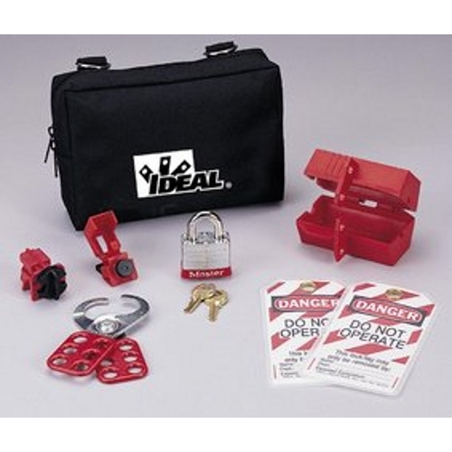 Ideal 44-973 8-Piece Nylon Zipper Pouch Starter Lockout/Tagout Kit