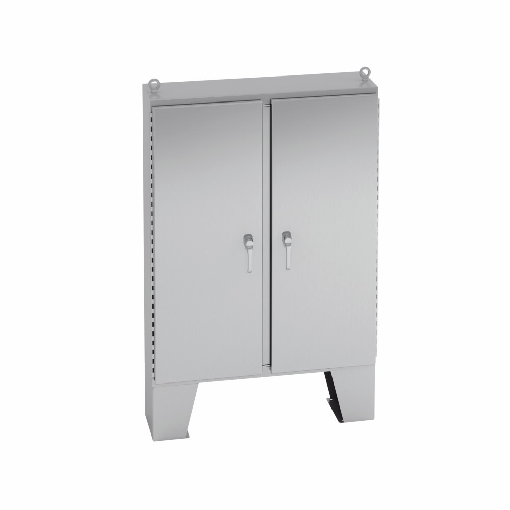 EATON B-LINE SERIES,746012-4XSFD3PT,Type 4X SS DD Floor-Standing 3-Point Locking Encl 74x60x12