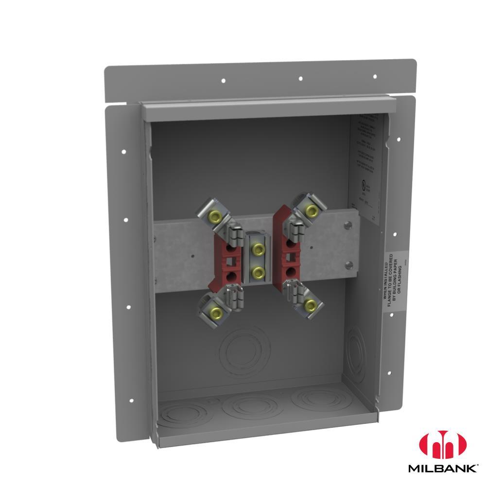 Milbank,UF4518-KO,Milbank® UF4518-KO Ringless Meter Socket, 600 VAC, 200 A, 1 Phase, NEMA 3R Enclosure