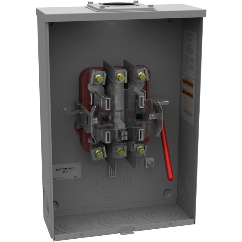 MLB U4551-RRL metered socket ringless 200 amp 5 terminal single phase with lever bypass over head or underground. Need to order A7551 closing plate or Hub kit