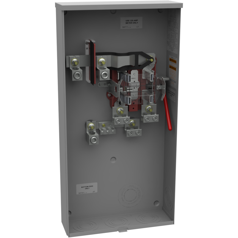 MLB U3000-O-5T9-K3L-K2L metered socket ringless 400 amp max 320 amp continuous 5 terminal single phase lever bypass underground only.