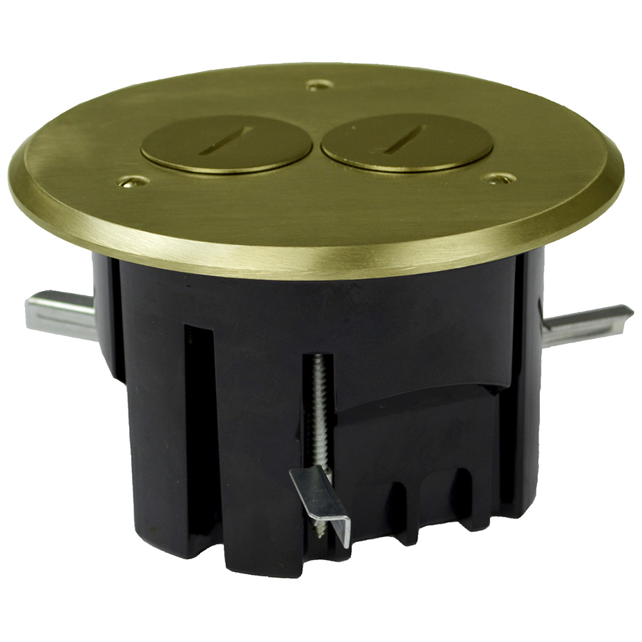 ALL FB-3 THERMOPLASTIC FLOOR BOX 25 CU IN RND BRASS CVR DUPLEX DEVICE