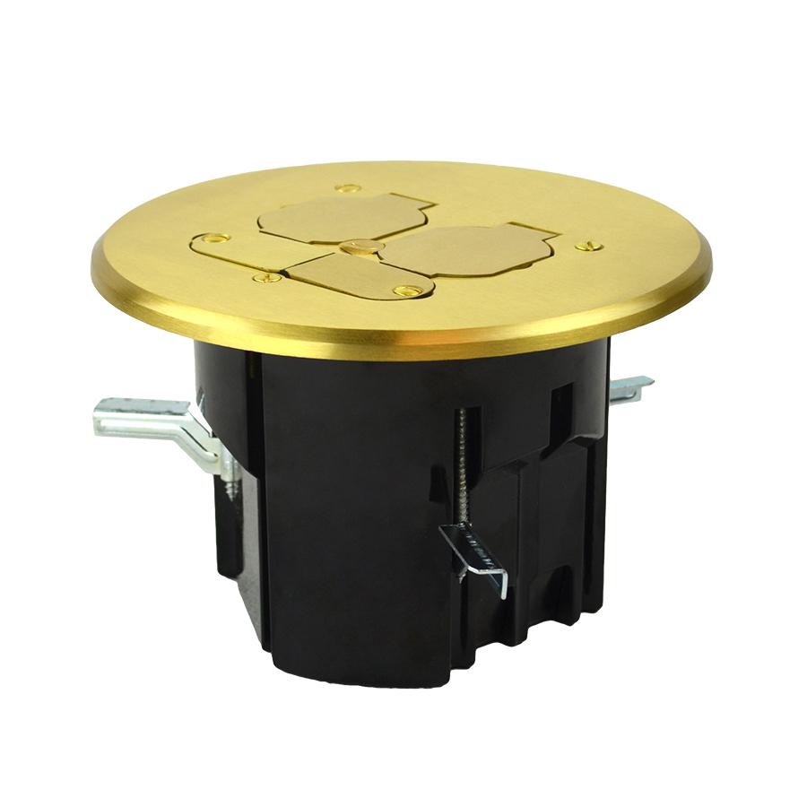 Allied FB-8 Round Floor Box Receptacle/Data, Brass