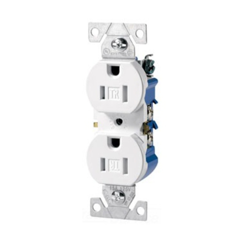 Cooper Wiring Devices,TR270W,Eaton Wiring Devices TR270W Straight Blade Duplex Grounding Receptacle, 125 VAC, 15 A, 2 Poles, 3 Wires, White