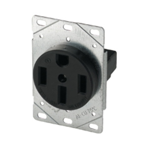 Cooper Wiring Devices,1258-SP,Cooper Wiring Arrow Hart 1258-SP Straight Blade Single Receptacle, 250 VAC, 50 A, 3 Poles, 4 Wires, Black