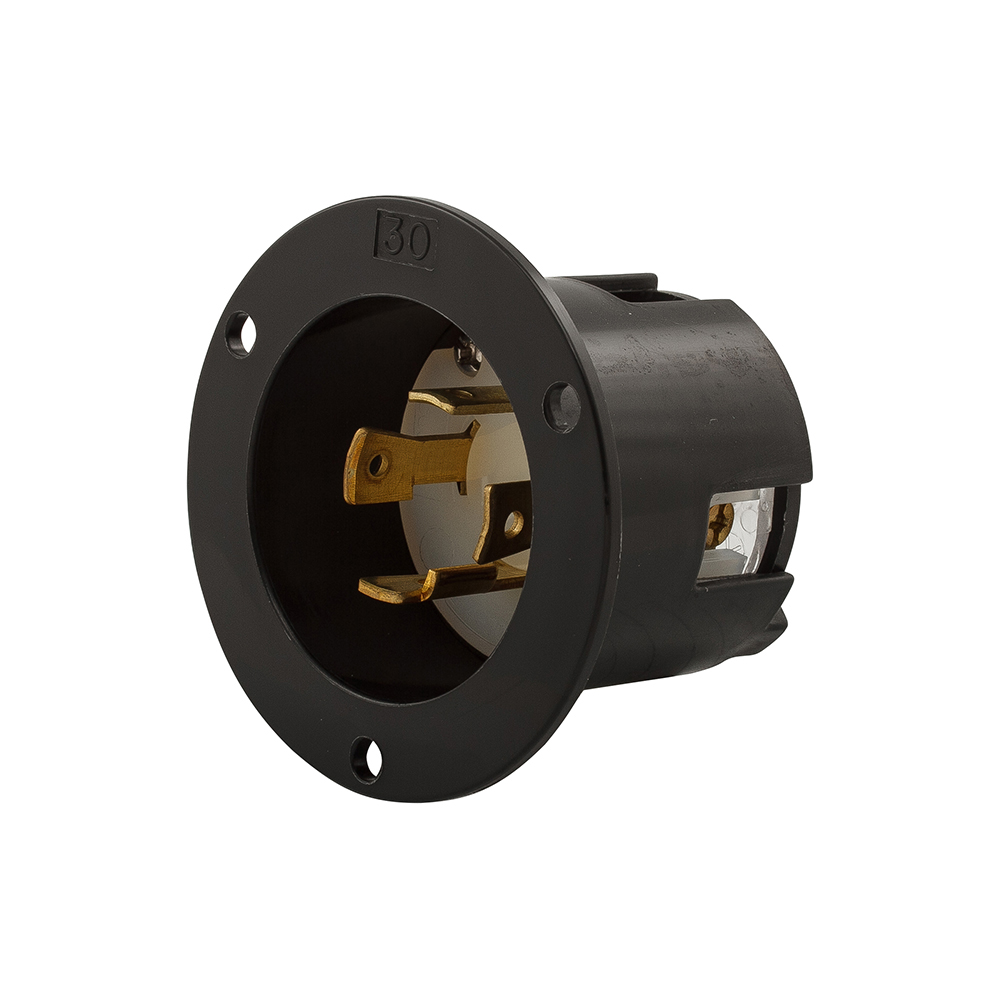 Eaton Wiring Ahl1430fi Van Meter Inc Arrow Hart Devices Locking Flanged Inlet 125 250 Vac 30 A 3 Poles 4 Wires Black White