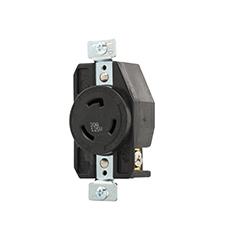 AH AHL520R Recp Single 20A 125V 2P3W H/L BK CS=10