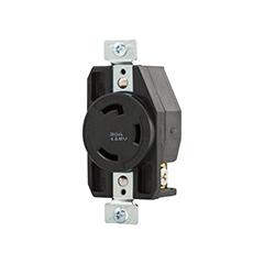 AH CWL530R Recp Single 30A 125V 2P3W H/L BK cs=10
